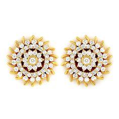 GRT | Collections | Diamond | Earrings | Beautiful Chakra Flower Diamond Ear Studs