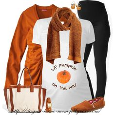 """""Lil' Pumpkin on the way"" Maternity T-Shirt"" by stay-at-home-mom on Polyvore"