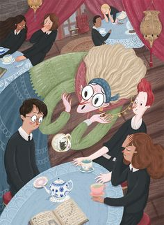 Harry Potter and the prisoner of azkaban. Divination class with professor Trelawney | Harry, Ron & Hermione | Alianna Rozentsveig Illustration
