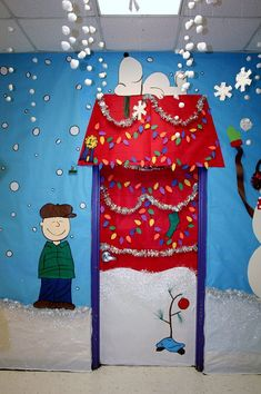 Snoopy Christmas Door Decoration Ideas Decorations Winter School