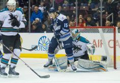 Worcester Sharks rookie goaltender Troy Grosenick attempts to make a save as St. John's IceCaps captain Jason Jaffray attempts a screen (Feb. 9, 2014).