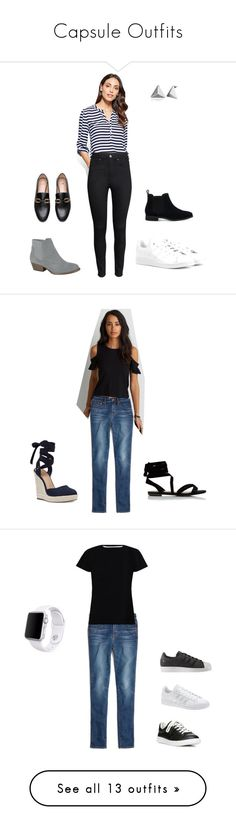 """""""Capsule Outfits"""" by andreatrv on Polyvore featuring New York & Company, H&M, adidas Originals, TOMS, Madewell, American Eagle Outfitters, Nine West, Zimmermann, Sam Edelman and adidas"""