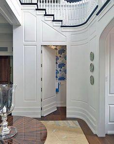 Top 50 Best Hidden Door Ideas - Secret Room Entrance Designs Hidden Spaces, Hidden Rooms, Houses Architecture, Bathroom Under Stairs, Traditional Staircase, Entrance Design, Entrance Foyer, Door Design, Hall Design