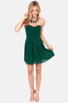 TFNC Elida Strapless Hunter Green Dress at LuLus.com!