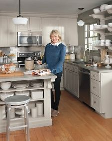 Martha Stewart: Gray Kitchen Design With Gray Walls Paint Color, Rolling  Gray Kitchen Island With ... | Kitchen | Pinterest | Grey Kitchen Designs,  ...