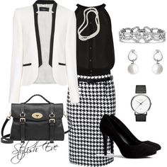 """Black & White Houndstooth Work !"" by stylisheve on Polyvore"