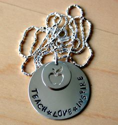 Sterling Silver Hand Stamped Teacher by StamplifiedLife on Etsy, $35.00