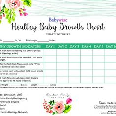 Healthy Baby Growth Chart - wonderful Babywise tool for new parents. Birth Weight, Baby Growth, Sleep Schedule, Christian Families, New Parents, Parenting, Printables, Chart, Teaching