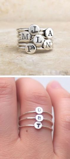 Custom Initial Stacking Rings ♥ very cool idea to spell out a name or use the first initial of everyone in your family.