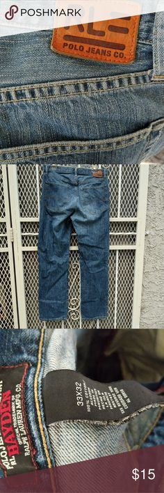 Ralph Lauren Polo Jeans size 33x32 Ralph Lauren Polo Jeans. Pre-owned but in good condition. I'm not sure if they are high waisted. they are too big for me Polo by Ralph Lauren Jeans Boyfriend