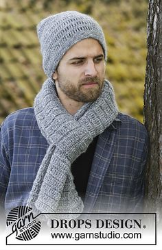 Set consists of: Crochet DROPS men's hat and scarf with trebles and single crochet in Air.