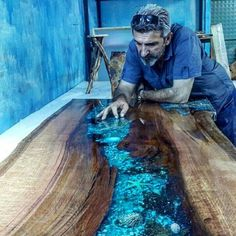 Epoxy Resin Countertops with epoxy, # resin # Worktops # epoxy Acne Care for Resin Crafts, Resin Art, Wood Crafts, Diy Wood, Resin Furniture, Furniture Design, Woodworking Plans, Woodworking Projects, Woodworking Software