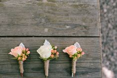 Love the peach coffee bean incorporated in these boutonnieres, wrapped in twine.  Add another spray rose or two for the Groom. Leave as one spray rose for the Best Man.