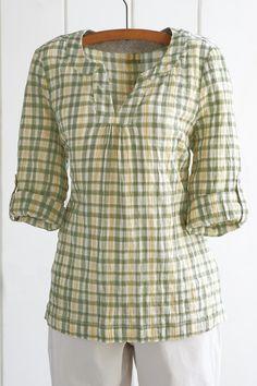 Crinkle plaid cotton tunic