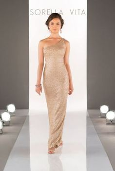 20 One Shoulder Bridesmaid Dresses For Fall Weddings: #16. Shining gold maxi dress for glamorous weddings
