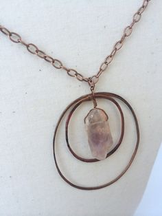 Raw Amethyst Crystal and Copper Hoop Necklace  by Cu29Creations