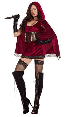 SEXY Dark Red Riding Hood COSTUME DRESS M RED Black Cape Halloween Mrs  Claus Red Riding b091ce3ff51b