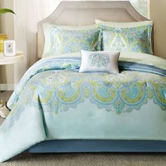 Madison Park Carly Complete Bedding Set with Sheets - Master Bedroom Decor - Bedding - Blue Comforter, Green Bedding, King Comforter Sets, Bedding Sets, White Decorative Pillows, Bed In A Bag, Cotton Sheet Sets, Bed Spreads, Bedroom Decor