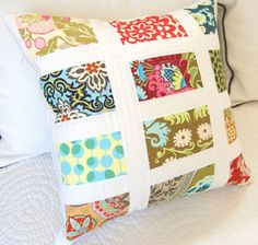 Patchwork Pillow Cover in MultiColored Fabrics by meringuedesigns