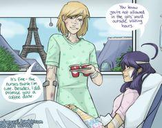 "Miraculous AU (Felix and Bridgette the ""older"" version of chat noir and ladybug)"