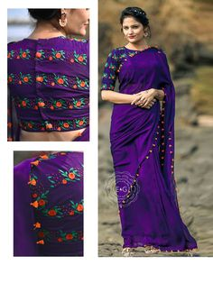 Stand out from the rest of the crowd wearing this Purple Colored Beautiful Georgette Saree from the house of Grab and Pack. Made of georgette, this saree is quite comfortable to wear. The Beautiful Embroidary makes this saree look even. Indian Designer Sarees, Latest Designer Sarees, Indian Sarees, Designer Dresses, Pakistani, Fancy Sarees, Party Wear Sarees, Wedding Reception Outfit, Blush Pink Wedding Dress