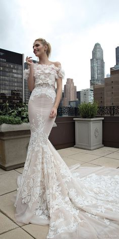inbal dror 2016 strapless sweetheart lace mermaid wedding dress nude style 17 short sleeve floral topper