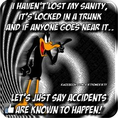 I haven't lost my sanity Funny Memes About Work, Work Memes, Work Humor, Looney Tunes Funny, Funny Cartoons, Funny As Hell, The Funny, Daffy Duck Quotes, Sarcastic Quotes