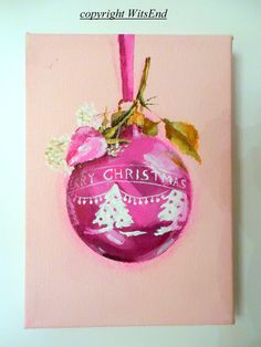 'A ROSY SHINY BRITE'. Rose Ornament painting ooak original by 4WitsEnd, via Etsy