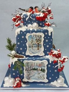 {Unbelievable gorgeous Winter-themed cake that would also be lovely for Christmas found on Cake Wrecks} Christmas Sweets, Noel Christmas, Christmas Goodies, Christmas Baking, Christmas Cakes, Xmas Cakes, Christmas Wedding, Cake Wrecks, Gorgeous Cakes