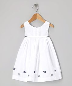 Take a look at this White & Navy Shell Dress - Infant & Toddler on zulily today! Newborn Girl Dresses, Toddler Girl Dresses, Toddler Outfits, Kids Outfits, Baby Outfits, Little Girl Outfits, Baby Dress Design, Baby Girl Dress Patterns, Frocks For Girls