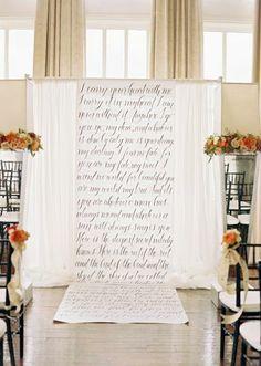Love letter altar by Jen Rios Design. Calligraphy by Blue Eye Brown Eye. Photo by Ben Q. Photography. #wedding #altar #handwritten