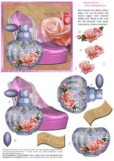 Beautiful heels roses and perfume bottle topper on craftsuprint