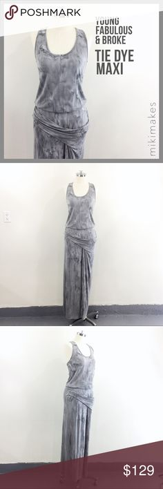 "YFB • grey tie dye draped maxi dress racerback • NWOT grey tie die maxi dress from Young Fabulous & Broke • scoop neck and racerback • has a gathered assymetric detail at the hip • slit at the front to expose some leg • under mini skirt lining • made of soft knit jersey • no size tag, but would say it is a medium (see measurements and keep in mind there is stretch)  92% modal 8% spandex  ✂️  Bust = 31"" ✂️  Waist = 28"" ✂️  Shoulder = 34"" ✂️  Length = 57""  • sorry no trades • please feel free…"