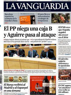Los Titulares y Portadas de Noticias Destacadas Españolas del 10 de Julio de 2013 del Diario La Vanguardia ¿Que le parecio esta Portada de este Diario Español?