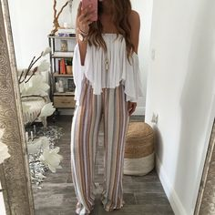 Monica Stripe Wide Leg Pant
