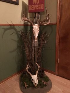 Fence post Whitetail Deer European mount