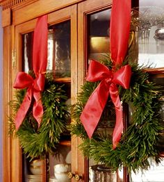 wreaths on dining room hutch