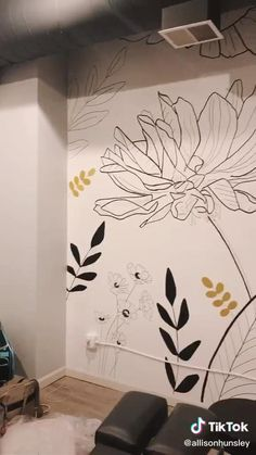 Hand Painted Walls, Painted Flowers On Wall, Painted Wall Murals, Home Wall Painting, Wall Paintings, Mural Wall Art, Diy Wall Art, Wall Art Designs, Wall Design