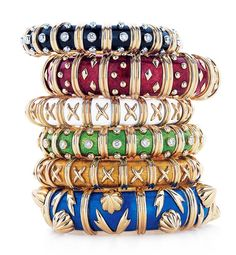 French Dressing- French jewelry designer Jean Schlumberger ups the style ante with richly hued enamel and gold bracelets.  Who knew? Schlumberger became the designer of choice for many screen sirens of the 1930s but solidified his place in fashion history when First Lady Jacqueline Kennedy began wearing his colorful enamel bracelets.