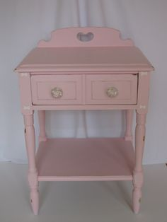 Pink Shabby Chic Bedside Table rose glass drawer by PicksNFinds4U, $ 155.00