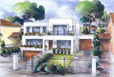 Perspectiva exterior casa residencial. Técnica: prismacolor
