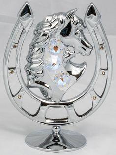 Figur Hufeisen mit Pferd silberfarben MADE WITH SWAROVSKI ELEMENTS - premium-kristall