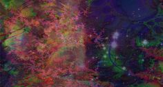 Purplish hue with nebula and star cluster.
