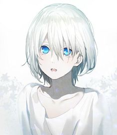 Manga girl with white hair and blue eyes