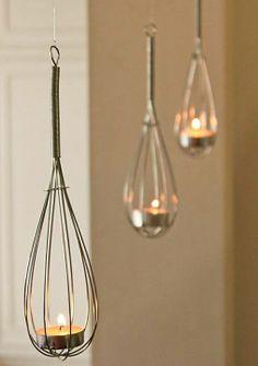 Cute idea - whisk tealight holders