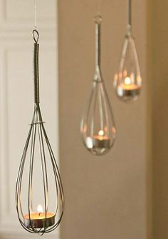 Cute idea - whisk tealight holders