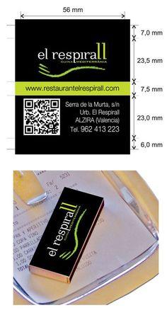 """Propuesta diseño cajas de cerillas modelo """"Hotel"""" para el restaurante El Respirall en Alzira (Valencia). Valencia, Money Clip, Templates, Match Boxes, Proposals, Restaurants, Money Clips"""