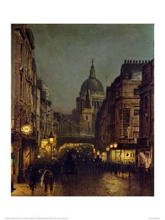 Paul's Cathedral from Ludgate Circus, London, England by John Atkinson Grimshaw (Photo by © Fine Art Photographic Library/CORBIS/Corbis via Getty Images) Art Gallery, Art Painting, Fine Art, Cityscape, Art Reproductions, Atkinson Grimshaw, Pictures, London Art, Scenery
