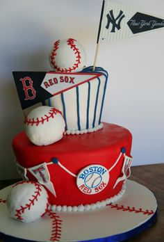 Baseball Birthday Cake - Yankees vs. Red Sox.  10-year-old boy birthday party.
