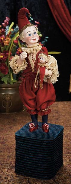 """The Lifelong Collection of Berta Leon Hackney: 189 French Musical Automaton """"Laughing Jester with Marotte"""""""